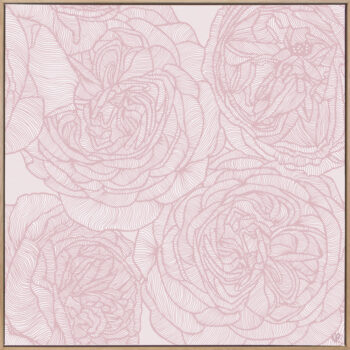 Rose Will - Soft - Framed Canvas Warm Timber Frame