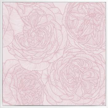 Rose Will - Soft - Framed Canvas White Frame