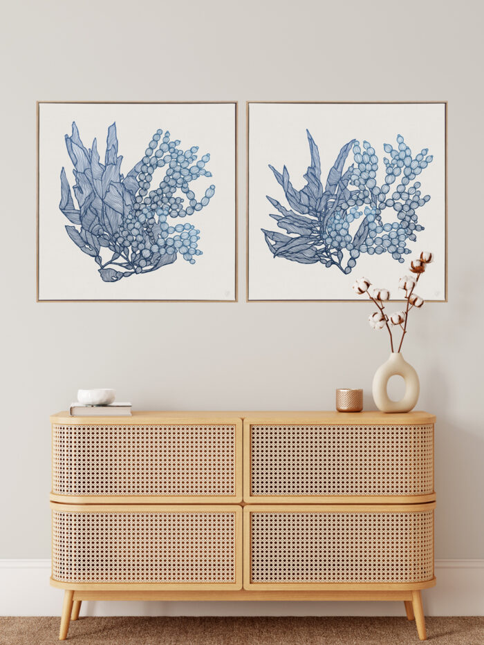 Sea Garden Aqua 1&2 Canvass Oak Square Frame