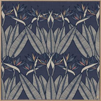 Strelitzia - Midnight - Framed Canvas Warm Timber Frame