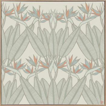 Strelitzia - Spring - Framed Canvas Warm Timber Frame