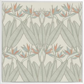 Strelitzia - Spring - Framed Canvas White Frame