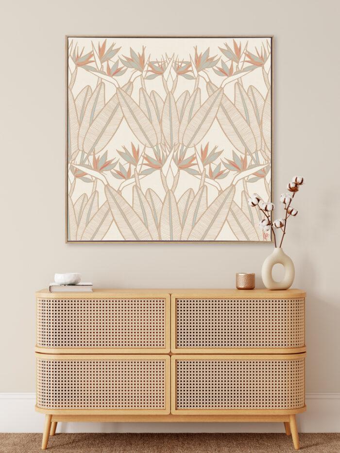 Strelitzia - Summer - Framed Canvas Warm Timber Frame Mock-up