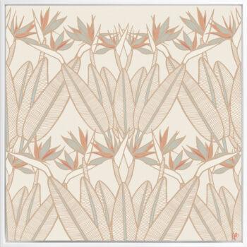 Strelitzia - Summer - Framed Canvas White Frame