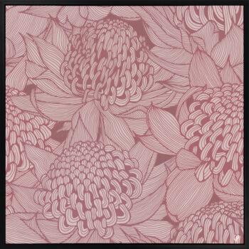 Telopea Bloom - Dusk - Framed Canvas Black Frame