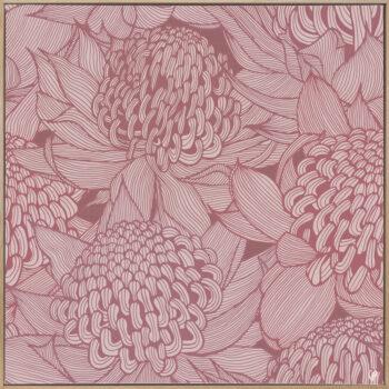 Telopea Bloom - Dusk - Framed Canvas Warm Timber Frame