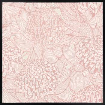Telopea Bloom - Soft - Framed Canvas Black Frame