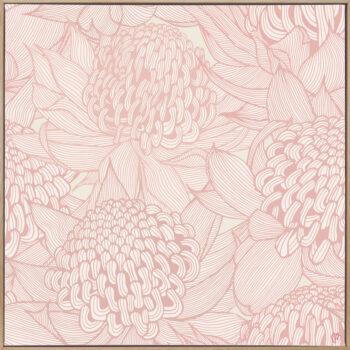 Telopea Bloom - Soft - Framed Canvas Warm Timber Frame