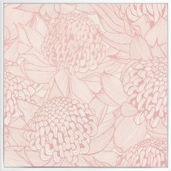 Telopea Bloom - Soft - Framed Canvas White Frame