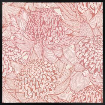 Telopea Bloom - Warm - Framed Canvas Black Frame