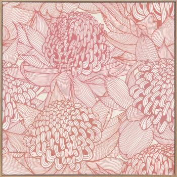 Telopea Bloom - Warm - Framed Canvas Warm Timber Frame