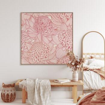 Telopea Bloom - Warm - Framed Canvas Warm Timber Frame - Mock-up
