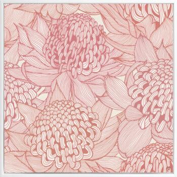 Telopea Bloom - Warm - Framed Canvas White Frame