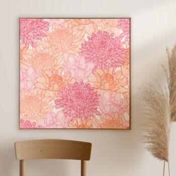 Torch Ginger - Bold - Framed Canvas Warm Timber Frame Mock-up